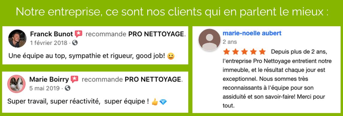 Témoignages clients PRO NETTOYAGE